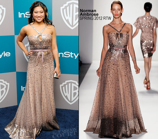 Jenna Ushkowitz in Norman Ambrose | 2012 Warner Bros. / InStyle & FOX Searchlight Golden Globe Awards After Party