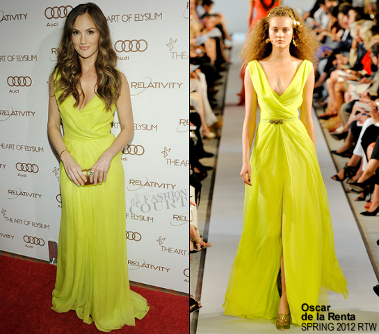Minka Kelly in Oscar de la Renta | The Art Of Elysium's 5th Annual Heaven Gala