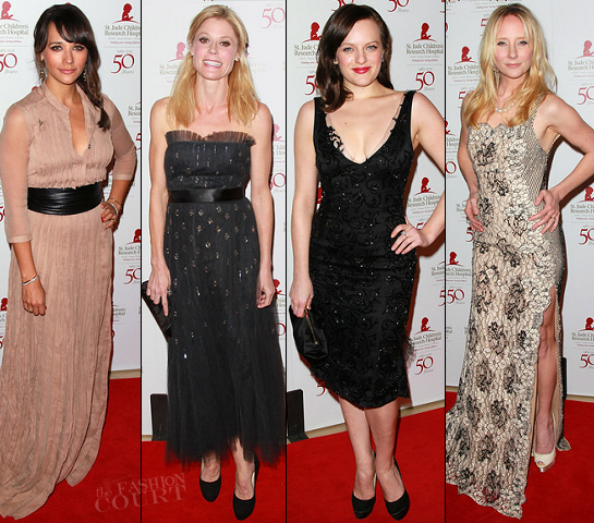 Rashida Jones in Burberry Prorsum, Julie Bowen in Monique Lhuillier, Elisabeth Moss in Armani & Anne Heche in Chagoury Couture | St. Jude's Children's Research Hospital 50th Anniversary