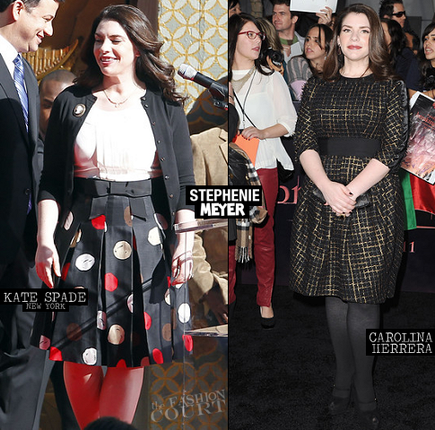 Stephenie Meyer in Kate Spade & Carolina Herrera