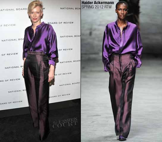 Tilda Swinton in Haider Ackerman | 2011 National Board of Review Awards