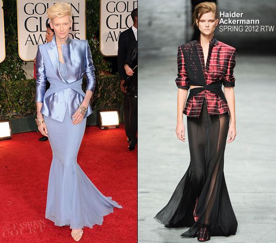 Tilda Swinton in Haider Ackermann | 69th Annual Golden Globe Awards