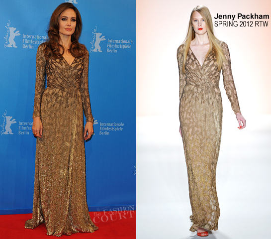 Angelina Jolie in Jenny Packham | 2012 Berlinale Film Festival - 'In The Land of Blood and Honey' Premiere