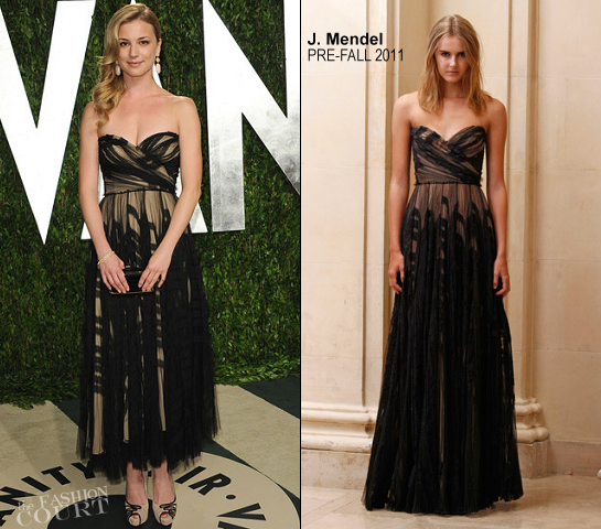 Emily VanCamp in J. Mendel | 2012 Vanity Fair Oscar Party