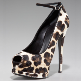 Giuseppe Zanotti Double Platform Open Toe Animal Print Calf Hair Pumps