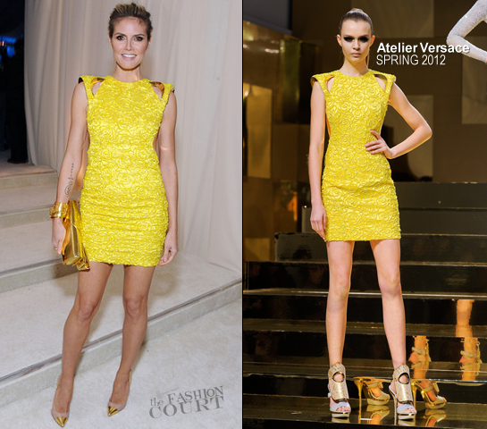 Heidi Klum in Atelier Versace | 2012 Elton John AIDS Foundation's Oscar Viewing Party
