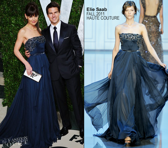 Katie Holmes in Elie Saab Couture | 2012 Vanity Fair Oscar Party