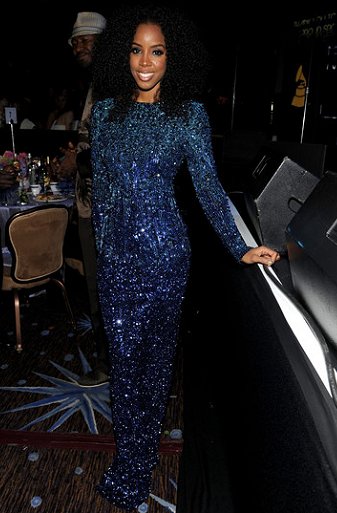 Kelly Rowland in Badgley Mischka Couture | Clive Davis 2012 Pre-GRAMMY Gala