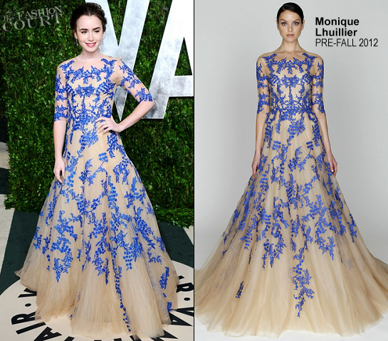 Lily Collins in Monique Lhuillier | 2012 Vanity Fair Oscar Party