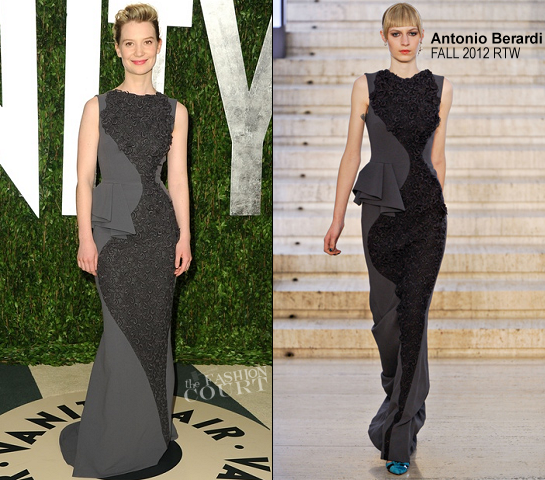 Mia Wasikowska in Antonio Berardi | 2012 Vanity Fair Oscar Party