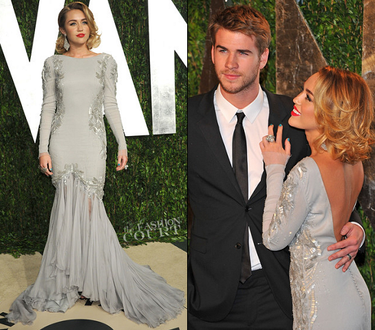 Miley Cyrus in Roberto Cavalli | 2012 Vanity Fair Oscar Party