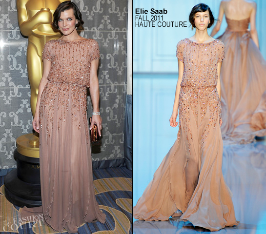 Milla Jovovich in Elie Saab | 2012 Academy Of Motion Picture Arts & Sciences' Sci-Tech Awards
