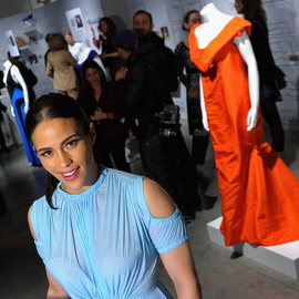 Paula Patton in Versus | eBay Celebrity & Brad Pitt's Make It Right Celebrate Pop-Up Gallery Exhibition