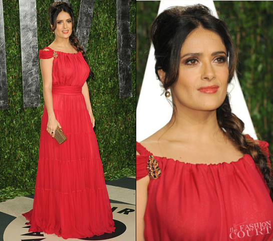 Salma Hayek in Yves Saint Laurent | 2012 Vanity Fair Oscar Party