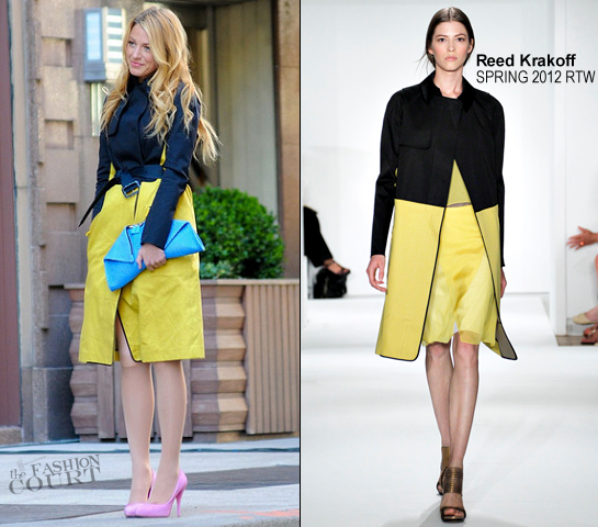 Blake Lively in Reed Krakoff | Filming 'Gossip Girl' in NYC