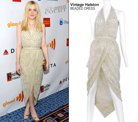 Dakota Fanning in Vintage Halston | 2012 GLAAD Media Awards