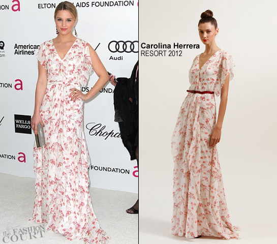 Dianna Agron in Carolina Herrera | 2012 Elton John AIDS Foundation's Oscar Viewing Party
