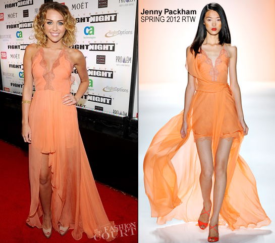 Miley Cyrus in Jenny Packham | Muhammad Ali's Celebrity Fight Night XIII