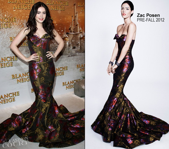 Lily Collins in Zac Posen | 'Mirror Mirror' Paris Premiere